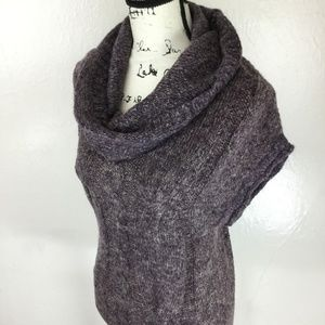 XTAREN Women's Dark Purple Knit Cowl Neck Sweater